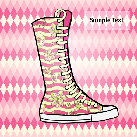 Abstract polygon flat design background with graphic patterned high gumshoes. Glamorous rosy tints. Vector