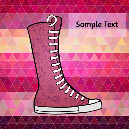 Abstract polygon flat design background with graphic patterned high gumshoes. Pink, purple and violet colots. RGB color mode Vector