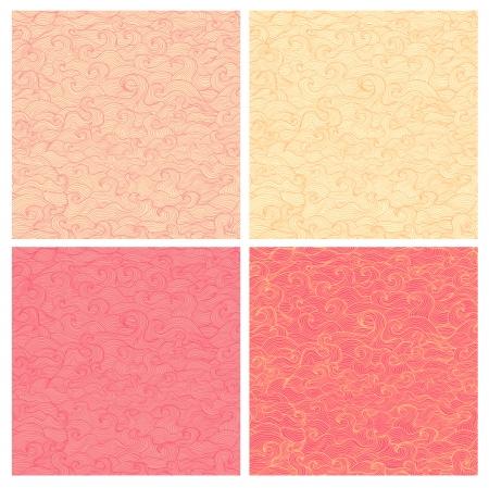 Set of beautiful wavy vector seamless patterns Illustration