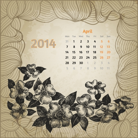 Artistic calendar with ink pen hand drawn cherry blossom for April 2014. Second variant template. One card of botanical series. Vector