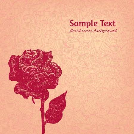 Vintage vector background with stylized ink rose in pastel rosy colors Vector