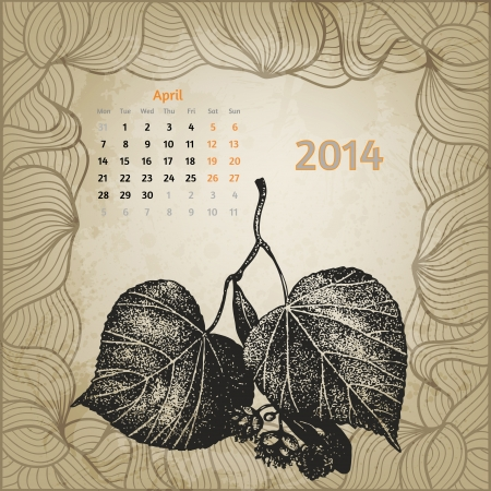 Artistic calendar with ink pen hand drawn lime tree leaves for April 2014 Stock Vector - 22964922