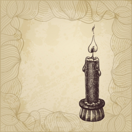 meditative: Artistic hand drawn illustration with candle and a place for Your text