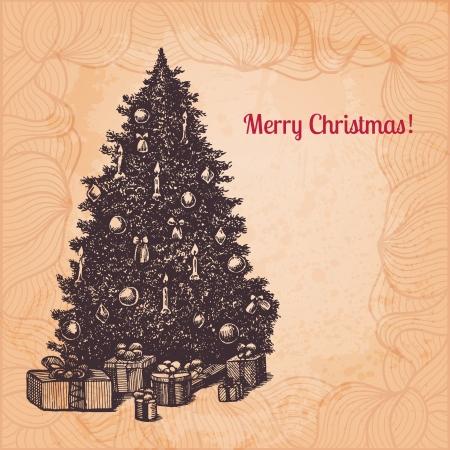 Vector Christmas illustration with hand drawn fir tree Stock Vector - 22961029
