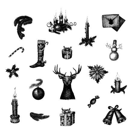 velas de navidad: Gran conjunto de vectores dibujados a mano de Navidad y Año Nuevo símbolos