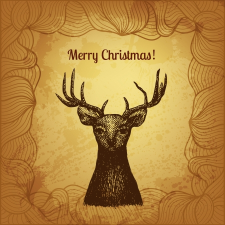 Vector illustration with hand drawn Christmas deer Stock Vector - 22961055