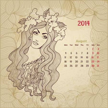 Artistic vintage calendar for August 2014.