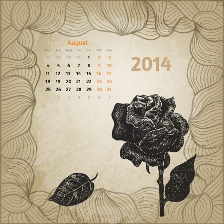 Artistic calendar with ink pen hand drawn rose for August 2014. One card of botanical series. Stock Vector - 22960988