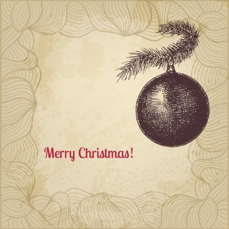 Vintage vector Christmas card with fir tree decorative ball Stock Vector - 23011437