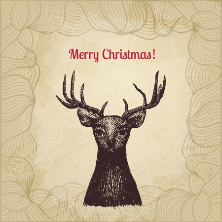 Vintage vector Christmas card with ink pen drawn deer Stock Vector - 23011477