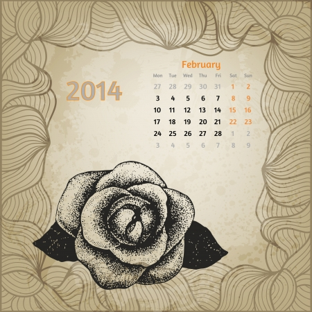 Artistic calendar with ink pen hand drawn rose for February 2014. One card of botanical series calendar. Vector