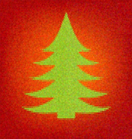 inlay: Polygon style holiday fir tree. Mosaic vector inlay.