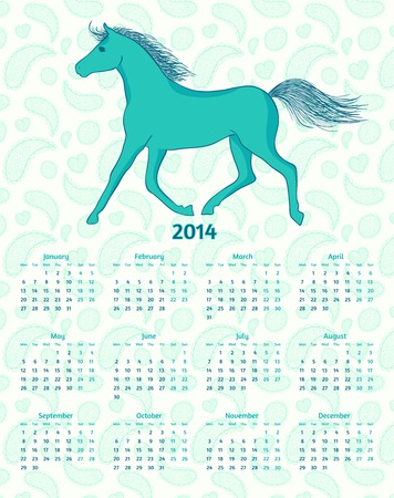 2014 Year vector calendar with a blue horse Vector