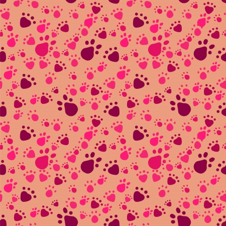 Pet paws imprints. Abstract vector seamless pattern Vector