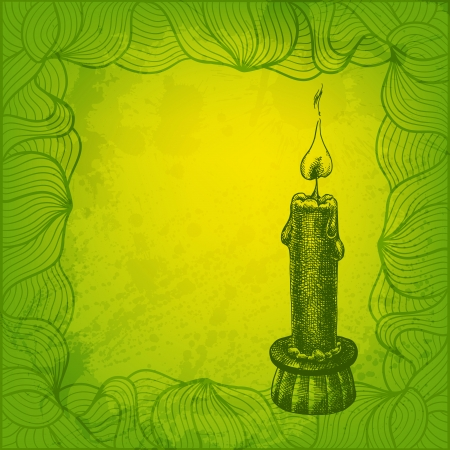candleholder: Artistic vector card with candle Illustration