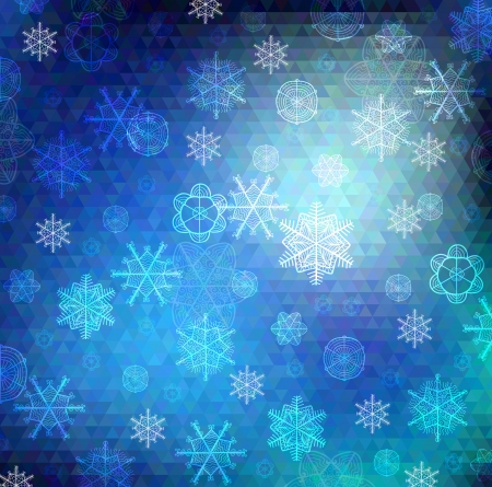Vector background. Hand drawn snowflakes on varied colors blue poygon backdrop Vector