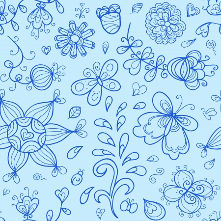 Vector seamless pattern. Nature stylized doodle elements Vector