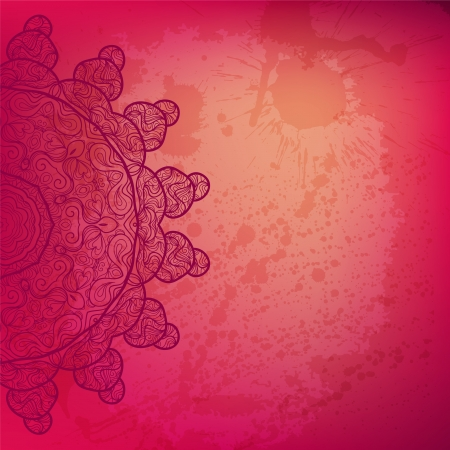 Colorful pink arabesque abstract background.  Vector