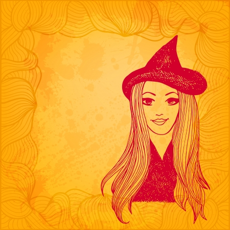 witchery: Halloween witch artistic vector background Illustration