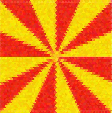 tints: Abstract decorative vector polygon background. Light beams from the center. Red anf yellow tints
