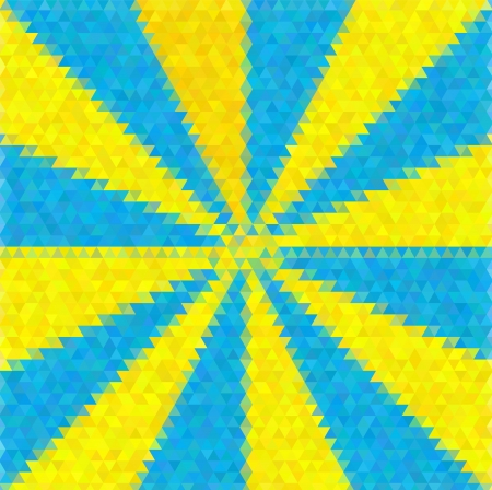 tints: Abstract decorative vector polygon background. Light beams from the center. Blue and yellow tints.