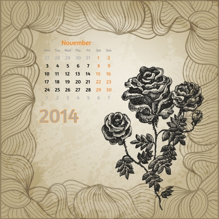 Artistic vintage calendar with ink pen hand drawn roses for November 2014. One card of botanical series calendar. Vector