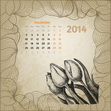 Artistic vintage calendar with ink pen hand drawn tulips for November 2014. One card of botanical series calendar. Vector