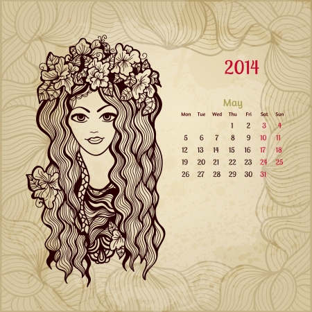 Artistic vintage calendar for May 2014. Woman beauty series. Vector