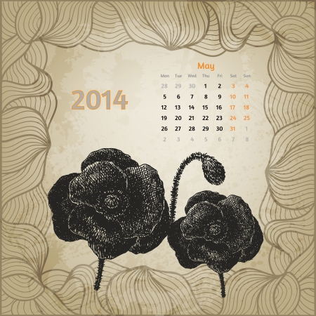 Artistic vintage calendar with ink pen hand drawn poppies for May 2014. One card of botanical series calendar. Vector