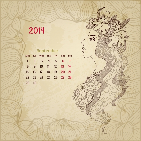 Artistic vintage calendar for September 2014. Woman beauty series. Vector