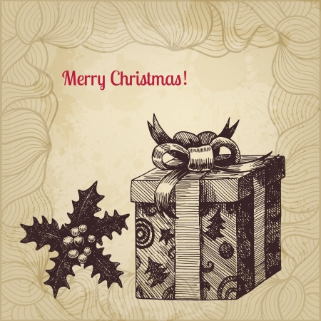 Artistic vector Christmas card with hand drawn vintage present box and winterberry Vector