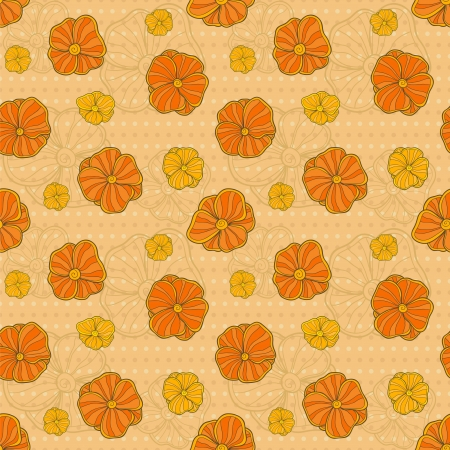 Vector seamless pattern with hand drawn flowers on polka-dotted background Vector