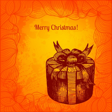 Colorful vector Christmas card. Hand drawn ink style gift box Vector