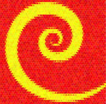 inlay: Abstract vector background. Polygin style inlay. Spiral. Red and yellow colors Illustration