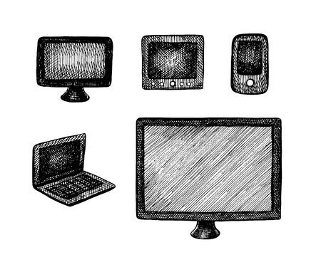 technics: Hand drawn vector computer technics