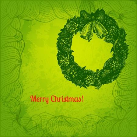 winterberry: Hand drawn Christmas wreath illustration