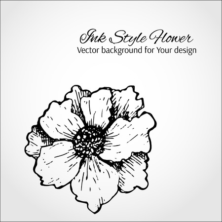 Black and white vector background. Hand drawn flower Stock Vector - 23349227