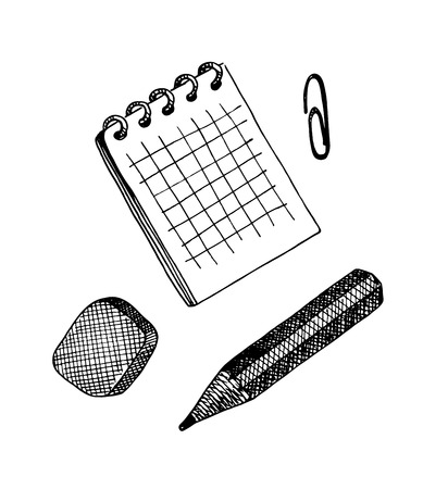 writing materials: Vector set of writing materials. Sketch style