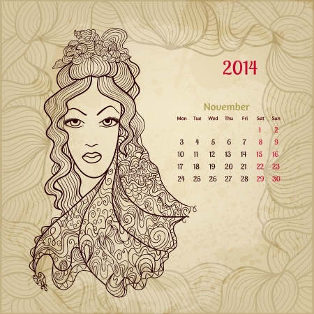 Artistic vintage calendar for November 2014. 'Woman beauty' series. Vector
