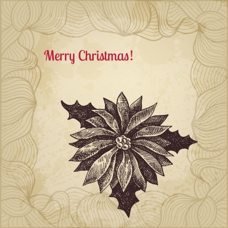 winterberry: Vintage vector Christmas card with hand drawn winterberry Illustration