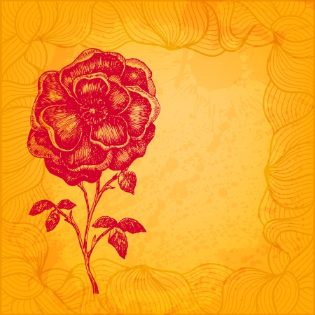 Artistic floral vector illustration. Bright warm sunny colors Vector