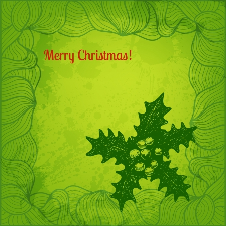 winterberry: Colorful vector Christmas illustration. Winterberry