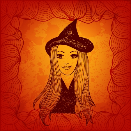 witchery: Beautiful witch in pointed hat. Halloween vector background