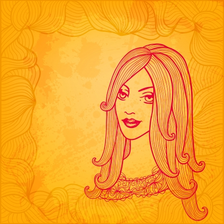 Artistic vector background. Hand drawn girl. Vector