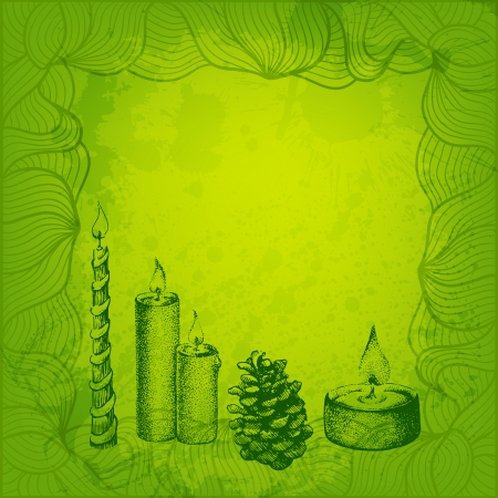 tints: Green tints vector card. Candles and cone.