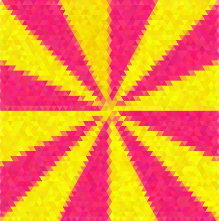 tints: Abstract decorative vector polygon background. Light beams from the center. Yellow and pink tints. Illustration