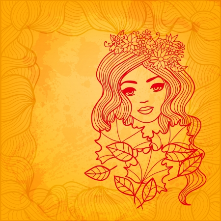 Colorful vector illustration with a beautiful autumn girl drawing Vector