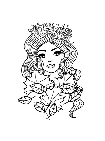 Black and white outline girl with fall leaves illustration. Hand drawn vector Vector