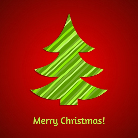 stripy: Stylized stripy paper fir tree. Vector Christmas card