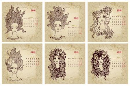 1 january: Vintage style 2014 year vector calendar. Part 1 (January, February, March, April, May, June)